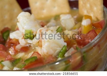 lobster ceviche cebiche seviche fresh citrus marinated corn island nicaragua central america - stock photo