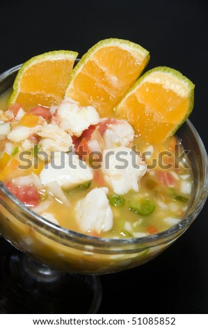 lobster ceviche with lime Latin America style as photographed in Nicaragua - stock photo