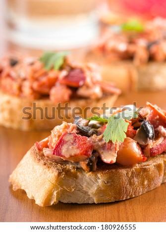 Lobster Crostini - stock photo