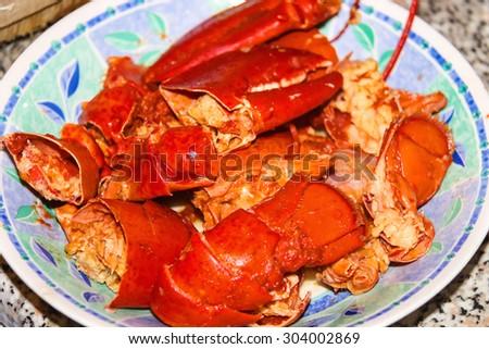 Lobster on a dish  at an Italian restaurant - stock photo