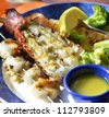 lobster Shrimps And Scallops Dish ,Close Up - stock photo