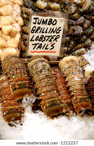 Lobster tails, Pike Place Market, Seattle - stock photo