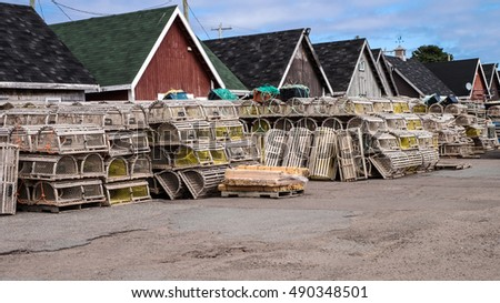 Lobster traps and fishing sheds in the village of North Rustico, Prince Edward Island, Canada