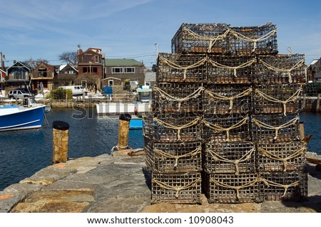 Lobster traps in fishing village of Rockport, Massachusetts - stock photo