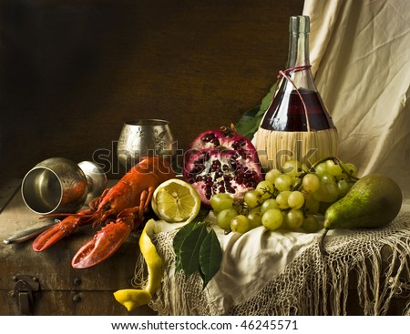 lobster, wine grapes are the fruits of pomegranate pear