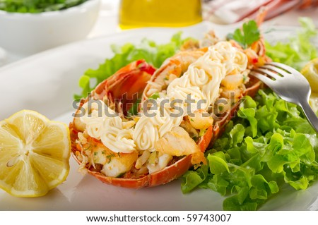 lobster with salad and mayonnaise - stock photo