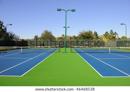 Local Community Tennis Court - stock photo