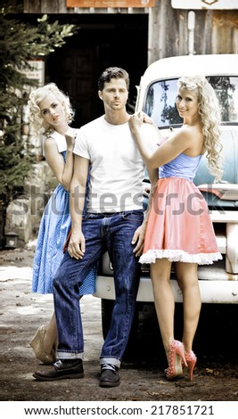 Local Country Store Pinup Setting with vintage Truck - stock photo