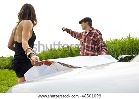 Local farmer giving directions to a lost beautiful young woman - stock photo