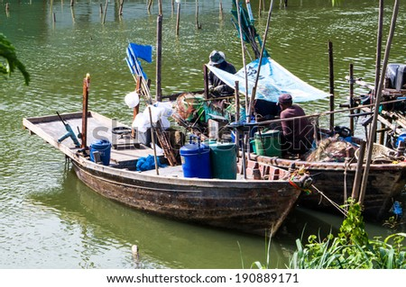 Local fisher boat in Thailand - stock photo