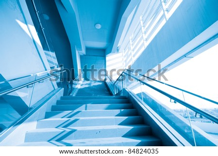 Local interior staircase, blue hue