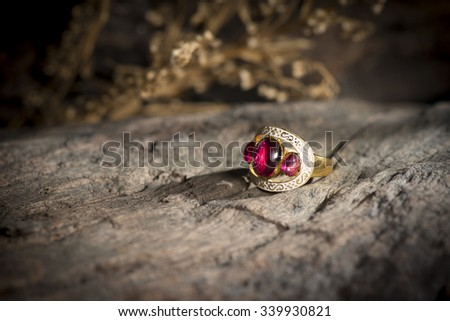 Local jewelry containing silver, gold and stone by handmade. - stock photo