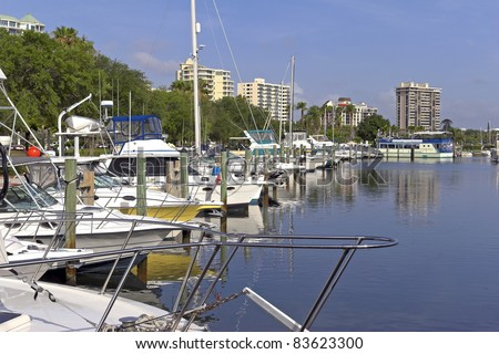 Local marina for small and larges boats at a inlet on the ocean