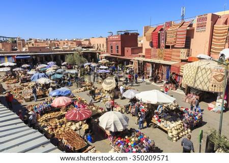 Local market in Marrakech, Morocco. 25-02-2015 - stock photo
