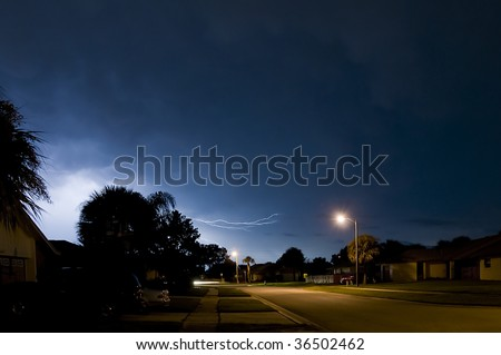 Local Neighborhood Lightning Strike Near Homes in Central Florida the Lightning Capital of the United States - stock photo