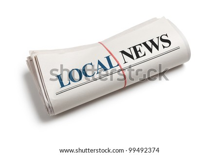 Local News, Newspaper roll with white background
