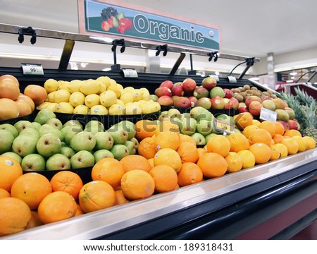 local organic produce at a grocery shop or store - stock photo