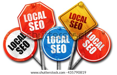 local seo, 3D rendering, rough street sign collection - stock photo
