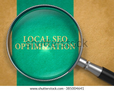Local SEO Optimization through Magnifying Glass on Old Paper with Dark Blue Vertical Line Background. 3D Render. - stock photo