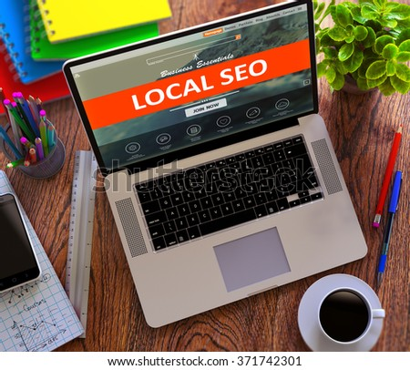 Local SEO - Search Engine Optimization - on Landing Page of Modern Laptop Screen. Online Marketing, iMarketing Concept. 3d Render. - stock photo