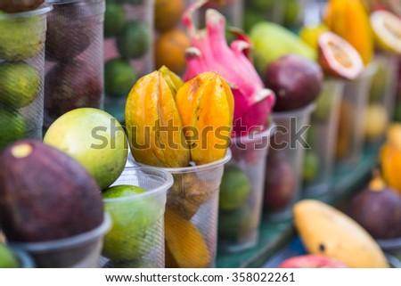 Local street fruit shop in Luang Prabang, Laos - stock photo