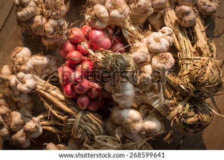 Local Thai life: Ingredients of Thai Food, vegetable, curry, spices - garlic and onions - vintage - stock photo
