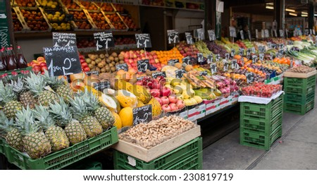 local vegetable market in vienna austria - stock photo
