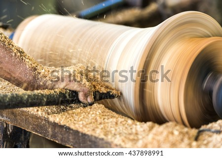 Local wood lathe  - stock photo