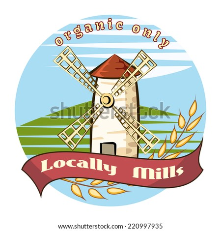Locally Mills - Organic only - farm badge with a picturesque old windmill in an agricultural field with an ear of ripe golden wheat in a circular design - stock photo
