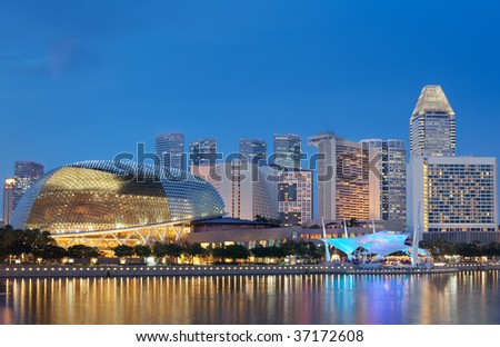 Located at Waterfront, Marina Bay, mouth of Singapore River. The Esplanade is a world renowned  performing arts centre.  Nicknamed as the Durian by Singaporeans. - stock photo