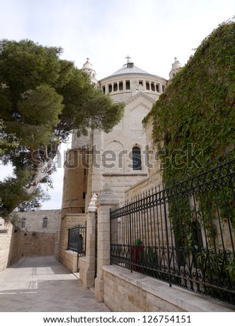 Located on Mount Zion, Jerusalem, Israel. It is a Benedictine Abbey also known as the Abbey of the Dormition of the Virgin Mary - stock photo