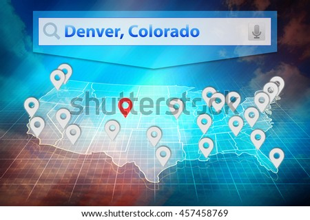 Location Denver City On The Us Map Text Denver Colorado In The