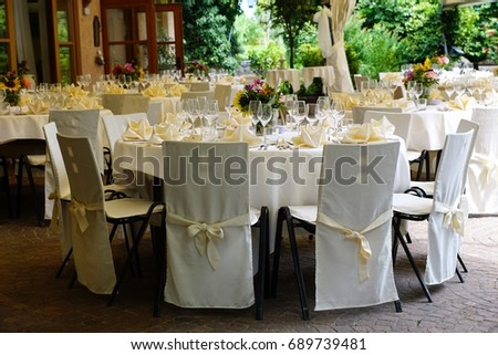 Round Tables Chairs Wedding Reception Stock Photo 560340559