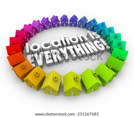 Location is Everything 3d words surrounded by colored houses or homes in best real estate community or neighborhoods - stock photo