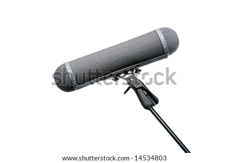 Location Microphone wind protection basket on boom mic - stock photo