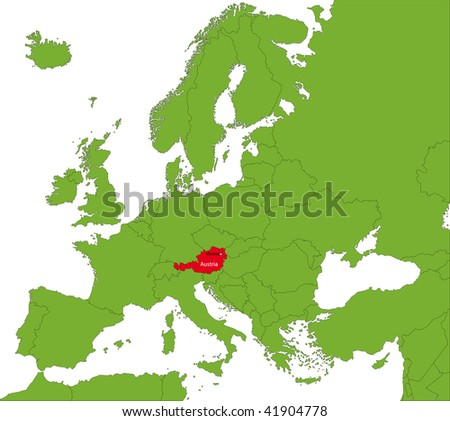 Location of Austria on the Europa continent - stock photo