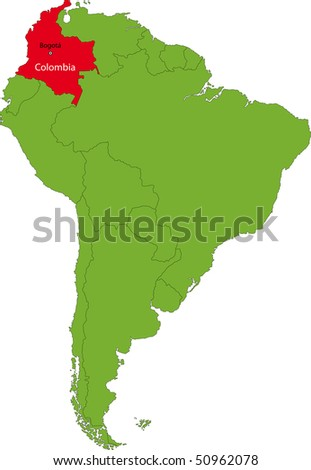 Location of Colombia on the South America continent - stock photo