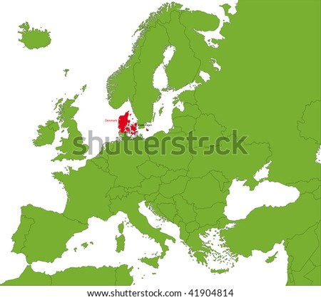 Location of Denmark on the Europa continent - stock photo