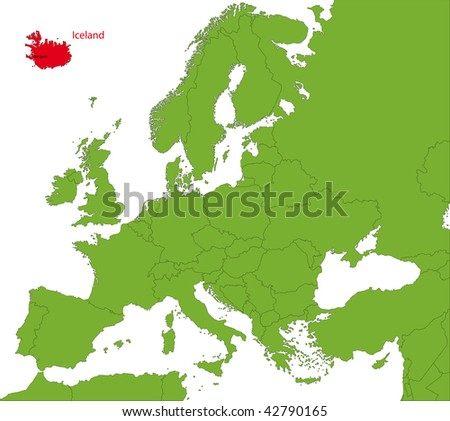Location of Iceland on the Europa continent