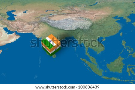 Location of India over the map - stock photo