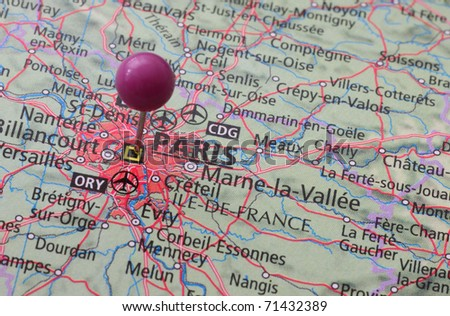 Location of Paris on a map with a pin - stock photo