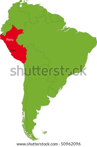 Location of Peru on the South America continent - stock photo