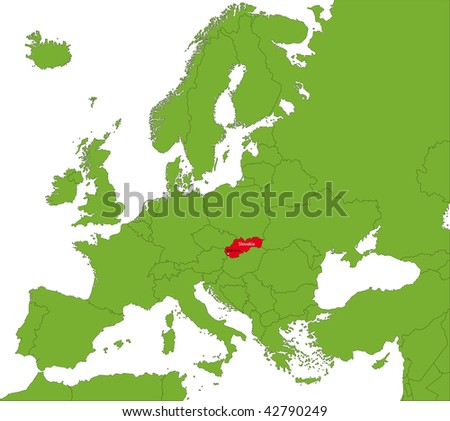 Location of Slovakia on the Europa continent - stock photo