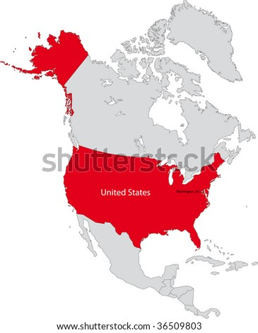 Location of the United States of America on the north America continent - stock photo