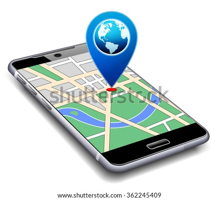 Location Pointer with World Globe on Phone - Raster Version - stock photo