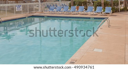 Location shot of a pool at a resort in the southeastern US
