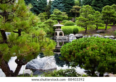 Location shot of peaceful and quiet gardens in the summertime