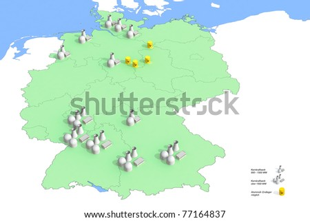Locations Nuclear power plants in Germany in 2011, Source: Federal Environmental Agency, 2011, site-specific representation of power in Germany in 2011, according to the legend