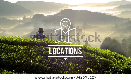Locations Traveling Destination Navigation Vacation Concept - stock photo