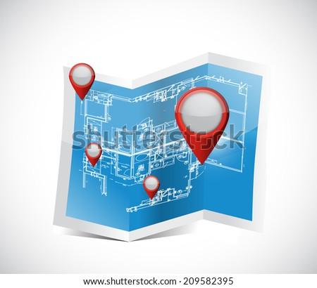 locator pointers blueprint illustration design over a white background - stock photo